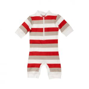Alfie & Nina All-in-one Rashie Swimsuit Red and Grey Stripe 10110100