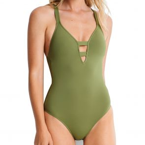 Seafolly Active Deep V One Piece 10634-058 Olive Leaf
