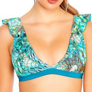 Aqua Blu Divinity Flutter Swim Crop Top A8018DI Multi