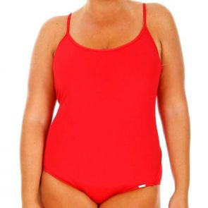 Capriosca Chlorine Resistant Racer One Piece Red CRES9814