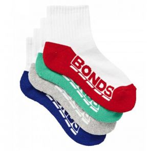 Bonds Active 4 Pack Logo Quarter Crew Assorted Boys R50924