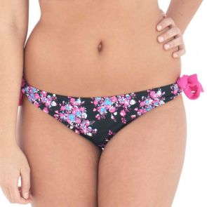 Curvy Kate Swim Moonflower Ruffle Back Tie Side Black Floral CS2515