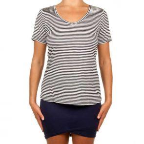 Betty Basics Manhattan V Neck Tee Navy/White Stripe BB515