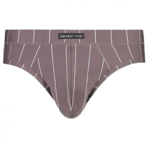 Bendon Man High Tech Cotton Brief 46-122 Charcoal Grey Stripe