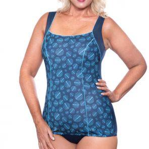 Genevieve Swimwear Etching Princess Line One Piece Blue Spot CR727
