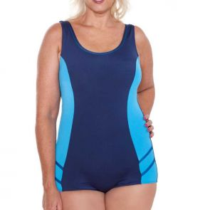 Genevieve Swimwear Trios Plus Lower Leg One Piece Blues CR830