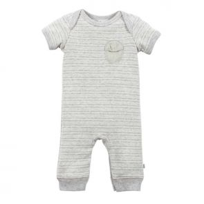 Bebe by Minihaha Aiden Short Sleeve Stripe Romper Silver Stripe YW16-519
