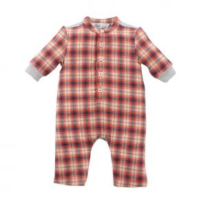Bebe by Minihaha Gus Long Sleeve Woven Romper Gus Check YW16-403
