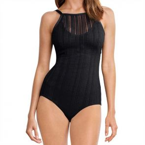 Milea Ladder Lace High Neck Maillot Nero 1094D-LAD