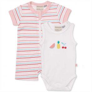 Marquise Tutti Fruitti Zip Romper and Bodysuit White/Pink Stripe MQA91