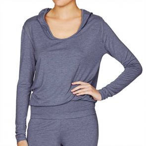 Heidi Klum Intimates Cozy Mornings Hooded Top Colony Blue Marl H61-1376A