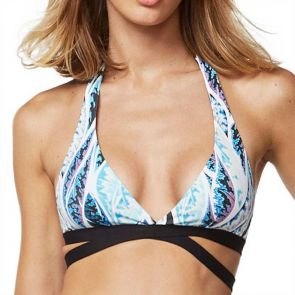 Moontide Black Bird Cross Halter Top Multi M6467BB