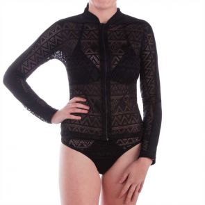 Aqua Blu Luxe Long Sleeve Rash Vest Black A6048LX
