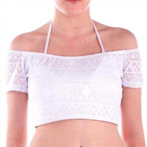Aqua Blu Luxe Lace Crop Top White A6049LX