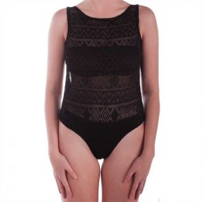 Aqua Blu Luxe Lace One Piece Black A6050LX