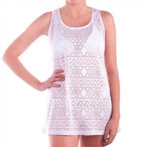 Aqua Blu Luxe Long Singlet Dress White A6055LX