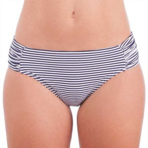 Nip Tuck Swim Sorrento Stripe Ruched Side Brief Navy/White NT4029SO