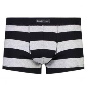 Bendon Man Low Rise Trunk 50-132 Black Rugby Stripe