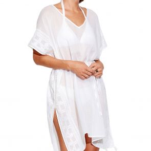 Seafolly Inka Gypsy Shadow Embroidered Kaftan 53594 White