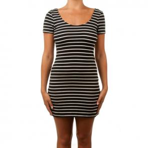 Betty Basics Areatha Cap Sleeve Dress Black/White Stripe BB206