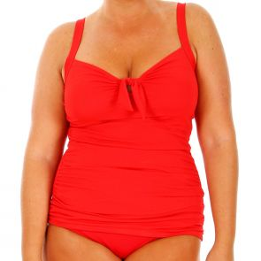 Capriosca Chlorine Resistant Tankini Top Red CRES12156A