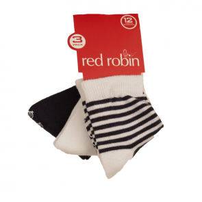 Red Robin Stripes and Plains 3 Pair Pack Navy R21283