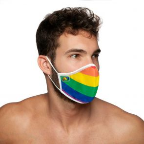 Addicted Rainbow Face Mask AC105 White