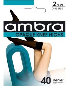 Ambra Opaque Knee High 2-Pack Am2propkh Black