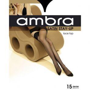 Ambra Satin Stay Up AMBSUST Almost Black