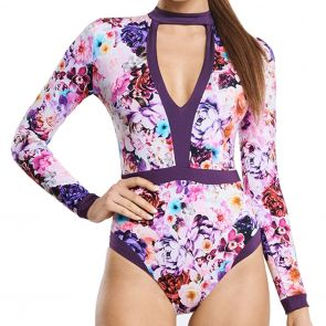 Aqua Blu Peony Full Bloom Swim One Piece A9018PE Multi