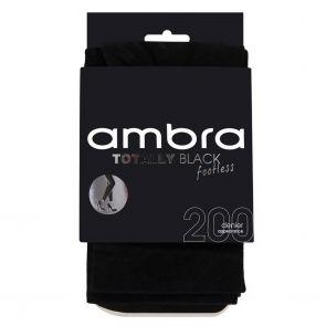 Ambra 200D Totally Black Footless Tights ATOBLFTLS Black