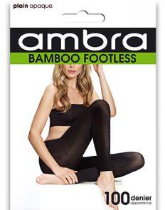 Ambra Organic Bamboo Footless Tights BAMFT Black