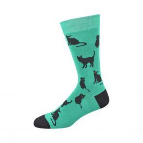 Bamboozld Mens Black Cat Sock BBS17BLACKCAT Green