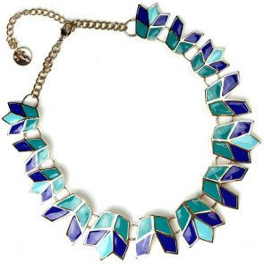 Sistaco Hand Enameled Necklace 1076BL B75 EY Blue/Green