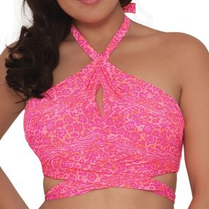Curvy Kate Swim Daze Cross Over Bandeau Top Pink Mix CS3941