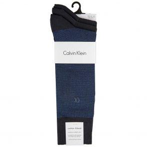Calvin Klein Barclay Birdseye Crew Socks 3 Pack ECC173 Navy