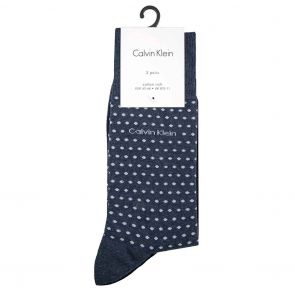 Calvin Klein Dots Flat Knit Socks 2-Pack ECW273 Denim Heather/Navy