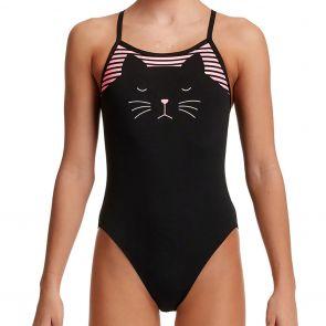 Funkita Girls Single Strap Swim One Piece FS16G Crazy Cat