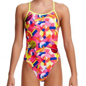 Funkita Girls Single Strap Swim One Piece FS16G Pink Pluto