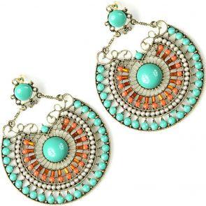Sistaco Fan-Tastic Pearl Bead Earrings 958GO M57 EY Green/Orange