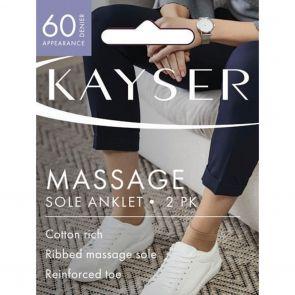 Kayser Cotton Rich Low Cut Anklet Massage Sole H10218 Black