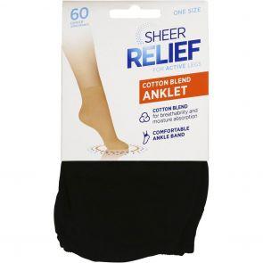 Sheer Relief Cotton Blend Anklets H33096 Black