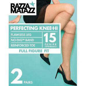 Razzamatazz Curvaceous Sheer Elastane Knee High 2-Pack H80016 Black