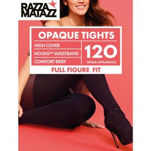 Razzamatazz Curvaceous 120D Perfectly Matte Opaque Tights No-Dig Waist H80028 Black