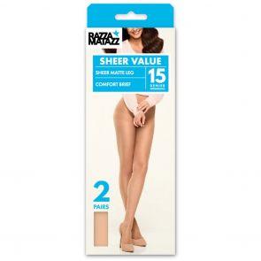Razzamatazz Regular Brief Pantyhose 2-Pack H80034 Tan