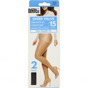 Razzamatazz Curvaceous Everyday Sheer Pantyhose 2 Pack H80035 Black