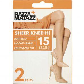 Razzamatazz Sheer Nylon Knee High 2 Pack H80043 Natural