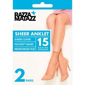 Razzamatazz Sheer Nylon Anklet 2-Pack H80044 Tan