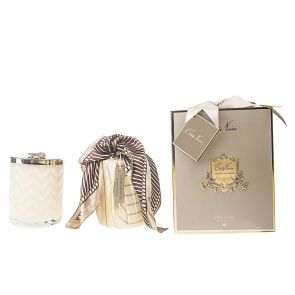 Cote Noire Herringbone Candle with Scarf Blond Vanilla HCG03 Cream and Golden Bee Lid