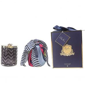Cote Noire Herringbone Candle with Scarf Eau De Vie HCG05 Navy and Dragonfly Lid